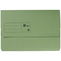 5 Star Document Wallets Half Flap, 285gsm, Foolscap, Green, Pack of 50