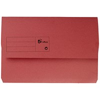 5 Star Document Wallets Half Flap, 285gsm, Foolscap, Red, Pack of 50