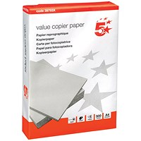 5 Star A4 Value Multifunctional Paper, White, 75gsm, Ream (500 Sheets)