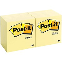 Post-it Canary Yellow Notes, 76x76mm, Pack of 12 x 100 Notes