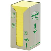 Post-it Note Recycled Tower Pack, 76x76mm, Pastel Yellow, Pack of 16