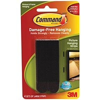 Command Picture Hanging Strips - Large Black - Pack of 4
