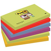 Post-it Super Sticky Notes, 76x127mm, Marrakesh, Pack of 6 x 90 Notes