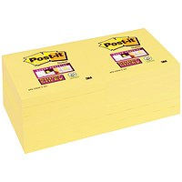 Post-it Super Sticky Notes, 76x76mm, Canary Yellow, Pack of 12 x 90 Notes