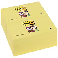Post-it Super Sticky Notes, 76x127mm, Canary Yellow, Pack of 12 x 90 Notes