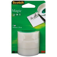 Scotch Magic Tape, 19mm x 25m Refill Roll, Pack of 3