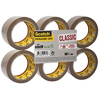 Scotch Classic Packaging Tape, 50mmx66m, Buff, Pack of 6