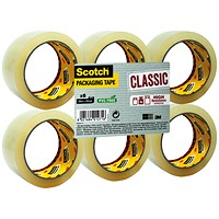 Scotch Classic Packaging Tape, 50mmx66m, Clear, Pack of 6