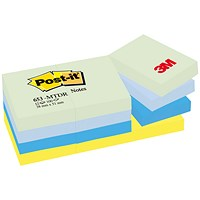 Post-it Colour Notes, 38x51mm, Dreamy Palette Rainbow Colours, Pack of 12 x 100 Notes
