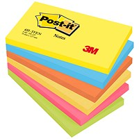Post-it Colour Notes, 76x127mm, Energetic Palette Rainbow Colours, Pack of 6 x 100 Notes