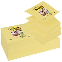 Post-it Super Sticky Z Notes, 76x76mm, Canary Yellow, Pack of 12 x 100 Notes