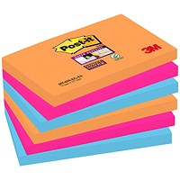 Post-it Super Sticky Colour Notes, 76x127mm, Bangkok, Pack of 6 x 90 Notes