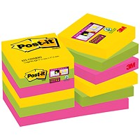 Post-it Super Sticky Notes, Rio, 51x51mm, Pack of 12