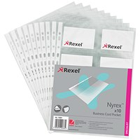Rexel A4 Nyrex Business Card Pockets, A4, Pack of 10