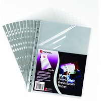Rexel A4 Nyrex Presentation Pockets, Top & Side-opening, Pack of 25