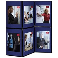 Nobo Showboard Display, 6 Panels, Blue & Grey