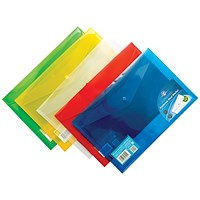 Concord Foolscap Stud Wallet Files, Translucent, Assorted, Pack of 5
