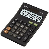 Casio Desktop Calculator, 8 Digit, 3 Key, Battery/Solar Power, Black