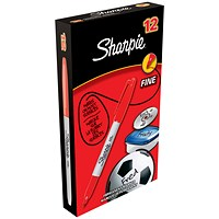 Sharpie Permanent Marker, Fine, Red, Pack of 12