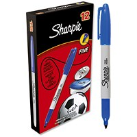 Sharpie Permanent Marker, Fine, Blue, Pack of 12
