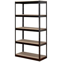 Influx Heavy-duty Storage Shelving Unit, Boltless, 5 Shelves, 1880mm Height x 950mm Width, Black