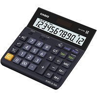 Casio Desktop Calculator, 12 Digit, 4 Key, Battery/Solar Power, Black