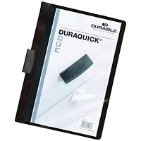 Durable A4 Duraquick Clip Folders, Black, Pack of 20
