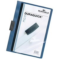 Durable A4 Duraquick Clip Folders, Blue, Pack of 20
