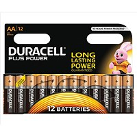 Duracell Plus Power Alkaline Battery, AA, Pack of 12