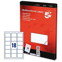5 Star Multipurpose Laser Labels, 18 per Sheet, 63.5x46.6mm, White, 1800 Labels