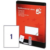 5 Star Multipurpose Laser Labels, 1 per Sheet, 199.6x289.1mm, White, 100 Labels