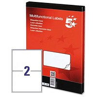 5 Star Multipurpose Laser Labels, 2 per Sheet, 199.6x143.5mm, White, 200 Labels