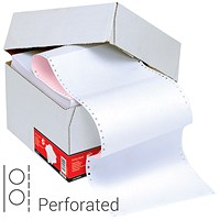 5 Star Computer Listing Paper, 2 Part, 11 inch x 241mm, Perforated, White & Pink Sheets, Box (1000 Sheets)