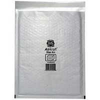 Jiffy Airkraft No.4 Bubble-lined Postal Bags, 240x320mm, Peel & Seal, White, Pack of 10