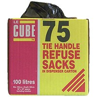 Robinson Young Le Cube Refuse Sacks with Tie Handles, Medium Duty, 100 Litre, 1474x1066mm, Black, Pack of 75