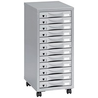 Pierre Henry Steel Multi-Drawer Storage Cabinet, 12 Drawers, Silver & Grey