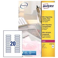 Avery Clear Laser Addressing Labels, 20 per Sheet, 55x12.7mm, L7552-25, 500 Labels