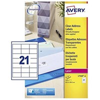 Avery Clear Laser Addressing Labels, 21 per Sheet, 63.5x38.1mm, L7560-25, 525 Labels
