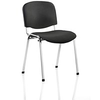 Trexus Stacking Chair, Chrome Frame, Black