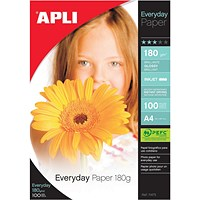 Apli A4 Everyday Glossy Photo Paper, White, 180gsm, Pack of 100 Sheets