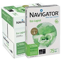 Navigator Eco-logical A4 FSC Paper, Bright White, 75gsm, Box (5 x 500 Sheets)