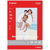 Canon A4 GP/501 Glossy Photo Paper, White, 170gsm, Pack of 100 Sheets