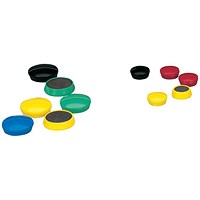 5 Star Round Plastic Covered Magnets, 25mm, Assorted, Pack of 10