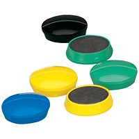 5 Star Round Plastic Covered Magnets, 30mm, Assorted, Pack of 10