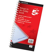 5 Star Wirebound Things To Do Today Book, 6 Months, 115 Pages, 275x150mm