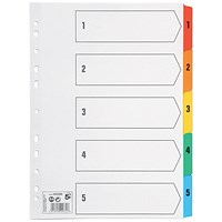 5 Star Index Dividers / 1-5 / Multicoloured Mylar Tabs / A4 / White