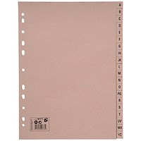 5 Star Eco Subject Dividers, A-Z, A4, Buff