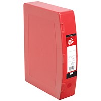 5 Star Plastic Box File, Twin Clip Lock, 75mm Spine, Foolscap, Red