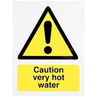 Stewart Superior Caution Very Hot Water Signs - 75x50mm
