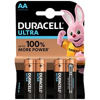 Duracell Ultra Power MX1500 Batteries, 1.5V, AA, Pack of 4